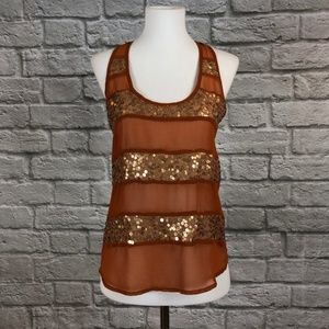 NWT Lush Copper with Gold Sequin Racerback Tank